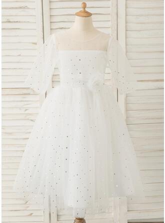 A-Line Tea-length Flower Girl Dress - Tulle 3/4 Sleeves Scoop Neck With V Back