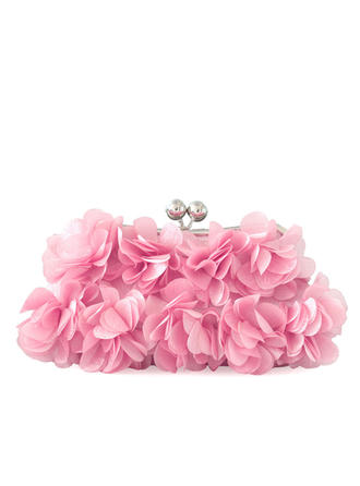 Clutches Wedding/Ceremony & Party Chiffon Kiss lock closure Lovely Clutches & Evening Bags