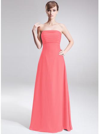 A-Line/Princess Chiffon Bridesmaid Dresses Ruffle Strapless Sleeveless Floor-Length