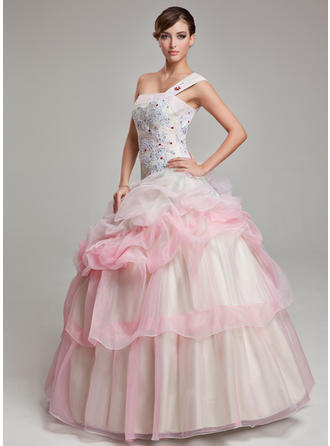Ball-Gown One-Shoulder Floor-Length Organza Prom Dress With Ruffle Beading Appliques Lace