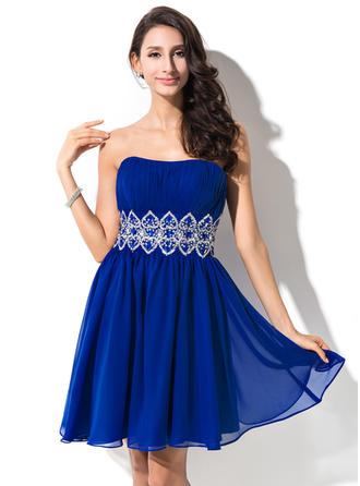 Empire Ruffle Beading Sequins Chiffon Homecoming Dresses Sweetheart Sleeveless Short/Mini