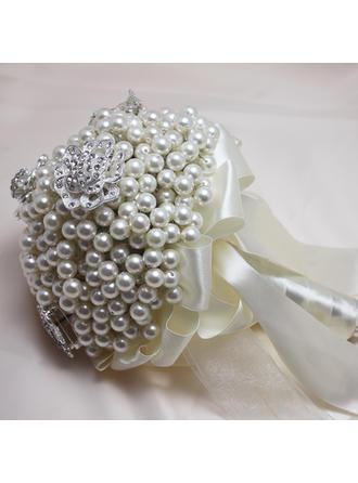 """Bridal Bouquets Round Wedding Rhinestone/Imitation Pearl 10.24""""(Approx.26cm) Wedding Flowers (123188905)"""
