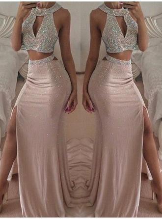 Trumpet/Mermaid Halter Stretch Crepe Sleeveless Floor-Length Beading Split Front Evening Dresses