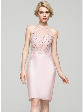 Sheath/Column Beading Sequins Jersey Homecoming Dresses Scoop Neck Sleeveless Knee-Length