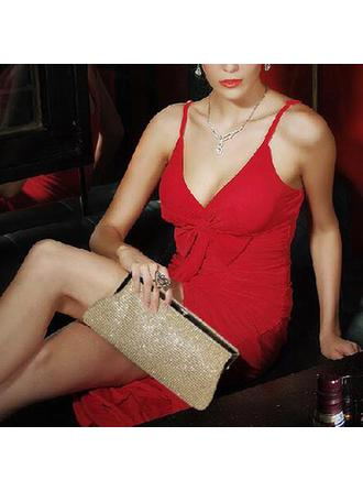 Clutches/Wristlets Wedding/Ceremony & Party/Casual & Shopping Crystal/ Rhinestone/Polyester Clip Closure Charming/Shining Clutches & Evening Bags (012186399)