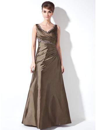 A-Line/Princess V-neck Taffeta Glamorous Mother of the Bride Dresses