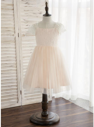 A-Line/Princess Knee-length Flower Girl Dress - Tulle/Lace Sleeveless Straps With Beading