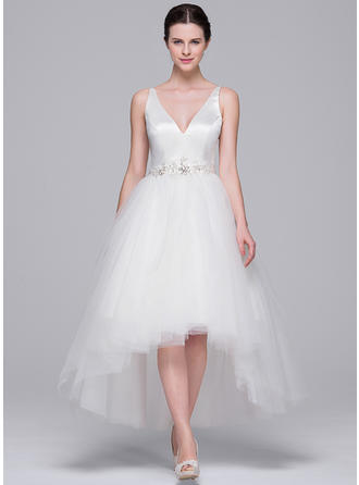 Asymmetrical A-Line/Princess - Satin Tulle Princess Wedding Dresses