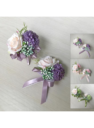 "Wrist Corsage/Boutonniere Free-Form Wedding Silk linen 3.54""(Approx.9cm) Wedding Flowers"