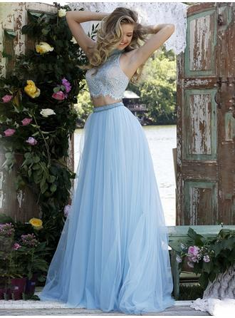 A-Line/Princess High Neck Prom Dresses