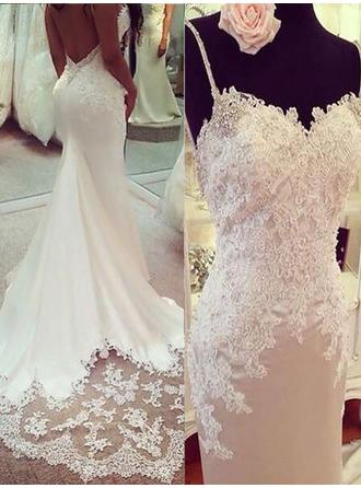 Newest Court Train Trumpet/Mermaid Wedding Dresses V-neck Charmeuse Sleeveless