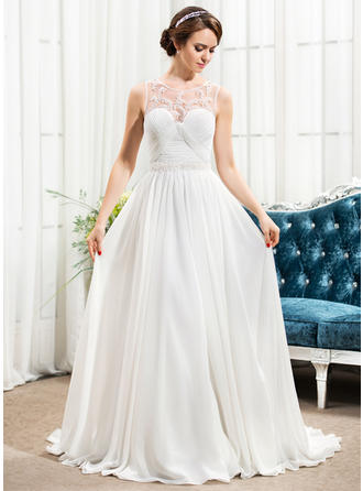 Flattering Sweep Train A-Line/Princess Wedding Dresses Scoop Chiffon Sleeveless