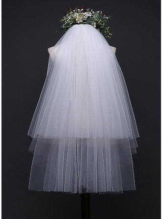 Four-tier Lace Applique Edge Elbow Bridal Veils With Applique