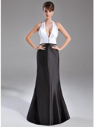 Trumpet/Mermaid Halter Charmeuse Sleeveless Sweep Train Ruffle Beading Evening Dresses