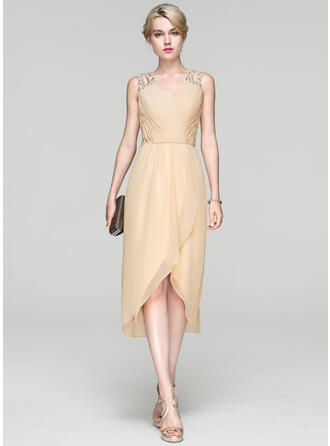 A-Line V-neck Asymmetrical Chiffon Cocktail Dress With Ruffle Beading Sequins