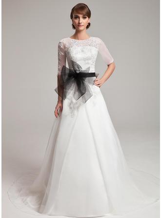 Forme Princesse Col rond Traîne mi-longue Organza Robe de mariée avec Dentelle Ceintures Emperler