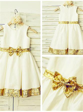 Scoop Neck A-Line/Princess Flower Girl Dresses Taffeta/Sequined Sash/Bow(s) Sleeveless Knee-length
