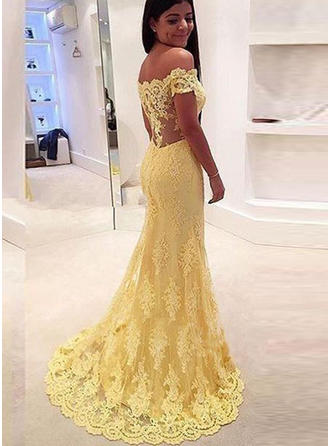 Simple Lace Prom Dresses Trumpet/Mermaid Sweep Train Off-the-Shoulder Sleeveless