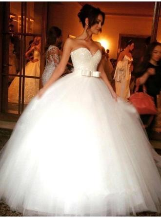 Sweetheart Ball-Gown Wedding Dresses Tulle Beading Sequins Bow(s) Sleeveless Floor-Length