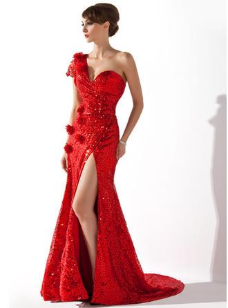Sequined Short Sleeves Trumpet/Mermaid Evening Dresses Court Train