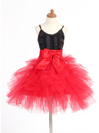 A-Line/Princess Straps Short/Mini With Lace/Bow(s) Satin/Tulle Flower Girl Dress
