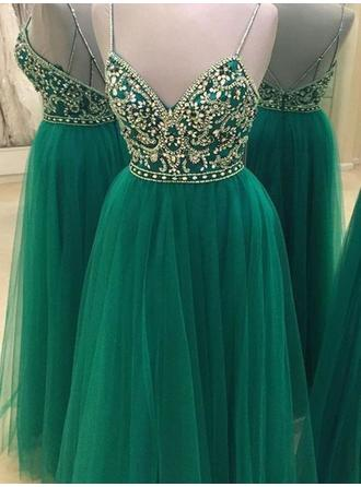 Tulle Sleeveless A-Line/Princess Prom Dresses V-neck Beading Floor-Length