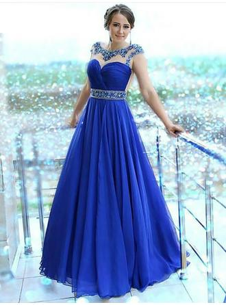 Chiffon Sleeveless A-Line/Princess Prom Dresses Scalloped Neck Beading Floor-Length