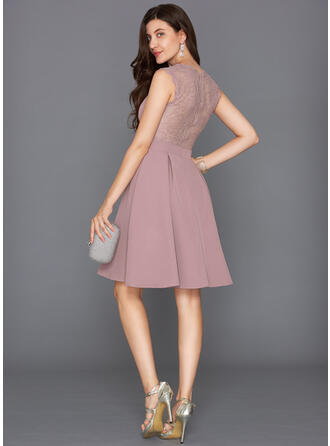 A-Line V-neck Knee-Length Stretch Crepe Cocktail Dress