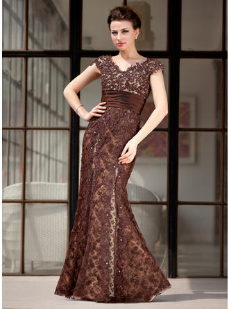 Trumpet/Mermaid Lace Sleeveless V-neck Floor-Length Zipper Up Mother of the Bride Dresses