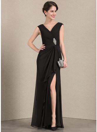 A-Line/Princess V-neck Floor-Length Chiffon Evening Dress With Beading Split Front Cascading Ruffles