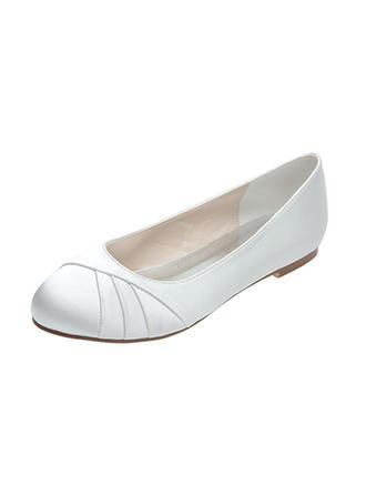 Women's Closed Toe Flats Flat Heel Satin Wedding Shoes