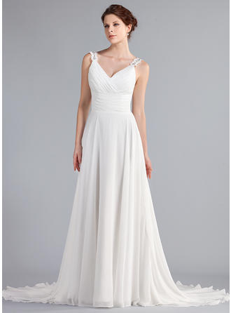 Elegant Court Train A-Line/Princess Wedding Dresses Sweetheart Chiffon Sleeveless