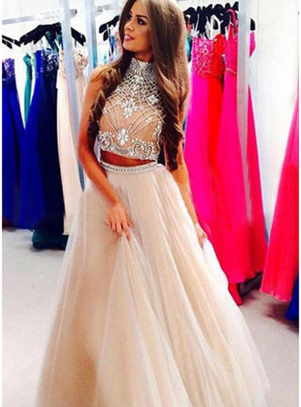 Sleeveless A-Line/Princess Prom Dresses High Neck Beading Floor-Length