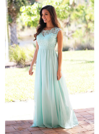 A-Line/Princess Scoop Neck Floor-Length Chiffon Lace Bridesmaid Dress (007145060)