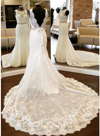 Sheath/Column Lace Sleeveless Scoop Cathedral Train Wedding Dresses
