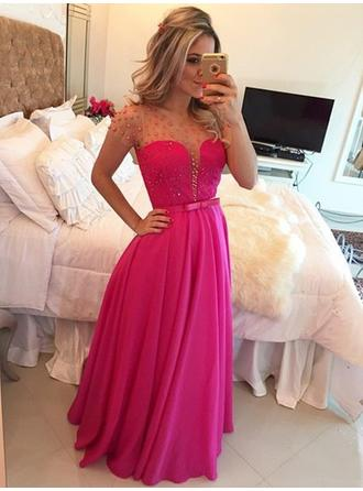 Newest Chiffon Evening Dresses A-Line/Princess Floor-Length Scoop Neck Short Sleeves