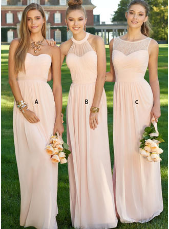 A-Line/Princess Sleeveless Floor-Length Ruched Chiffon Bridesmaid Dresses