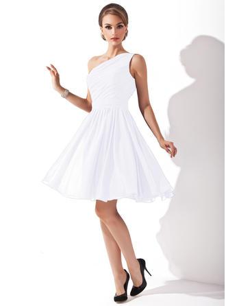 A-Line/Princess Chiffon Bridesmaid Dresses Ruffle Bow(s) One-Shoulder Sleeveless Knee-Length