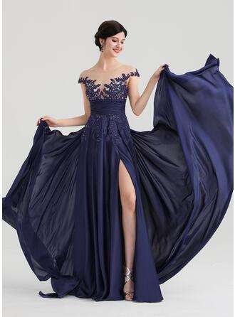 A-Line/Princess Scoop Neck Floor-Length Chiffon Satin Chiffon Evening Dress With Ruffle Beading Split Front