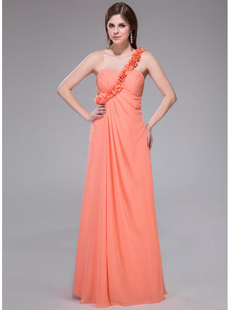 Empire One-Shoulder Floor-Length Chiffon Prom Dress With Ruffle Flower(s)