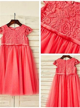A-Line/Princess Scoop Neck Tea-length With Sash/Pleated Tulle/Lace Flower Girl Dresses