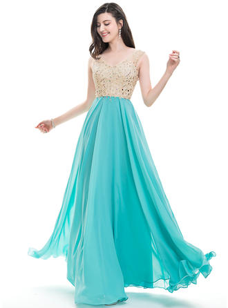 Sleeveless A-Line/Princess Prom Dresses V-neck Beading Sequins Floor-Length