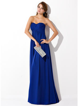 Empire Sweetheart Sweep Train Evening Dress With Ruffle