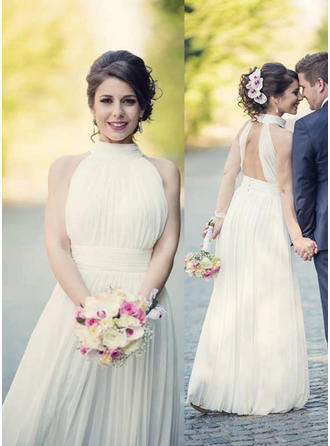 Sexy Chiffon Wedding Dresses A-Line/Princess Floor-Length Halter Sleeveless