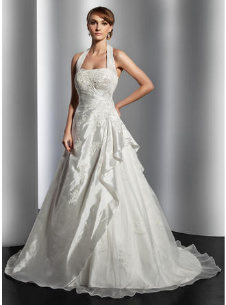 Taffeta A-Line/Princess Court Train Halter Wedding Dresses