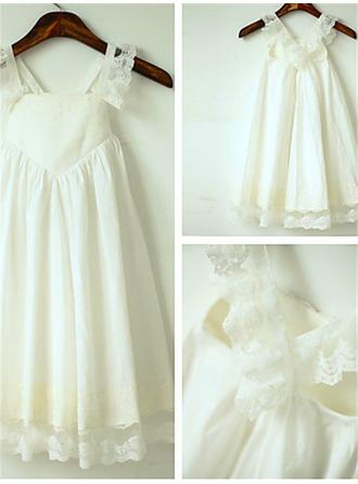 A-Line/Princess Straps Tea-length With Ruffles Chiffon Flower Girl Dresses