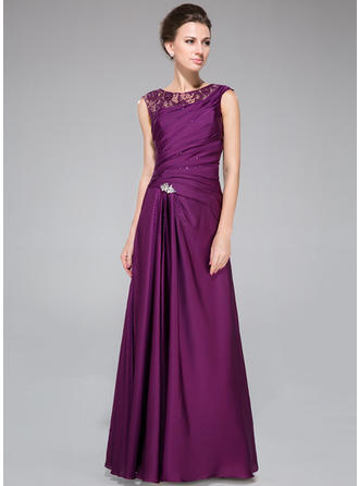 A-Line/Princess Scoop Neck Lace Satin Chiffon Sleeveless Floor-Length Ruffle Beading Mother of the Bride Dresses