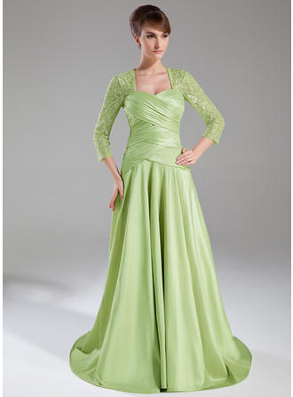 A-Line/Princess Taffeta Lace 3/4 Sleeves Sweetheart Sweep Train Zipper Up Mother of the Bride Dresses