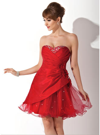 A-Line/Princess Sweetheart Short/Mini Taffeta Tulle Homecoming Dresses With Ruffle Beading Flower(s)
