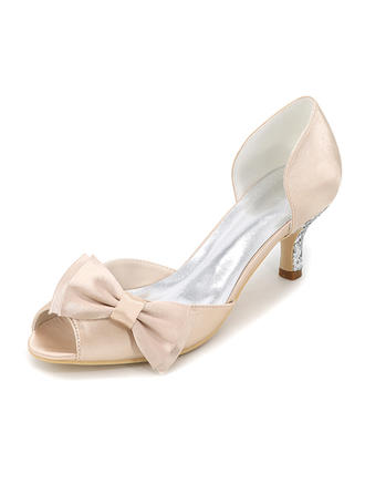 Women's Peep Toe Pumps Stiletto Heel Silk Like Satin With Bowknot Wedding Shoes